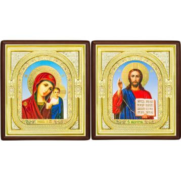 Венчальная пара Икона Спасителя и Казанской Божьей Матери 1-ВП-6