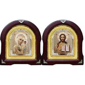Венчальная пара Икона Спасителя и Казанской Божьей Матери 12-АВП-2
