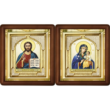 Вінчальна пара Ікона Спасителя і Нев'янучий цвіт Божа Матір 3-ВП-11