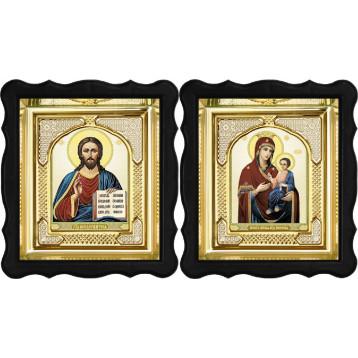 Венчальная пара Икона Спасителя и Иверская Божия Матерь 3-ФВП-9