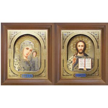 Венчальная пара Икона Спасителя и Казанской Божьей Матери 25-3д-ВП-1