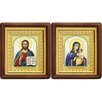 Вінчальна пара Ікона Спасителя і Нев'янучий цвіт Божа Матір 4-ВП-11