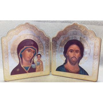Деревянный складень маленький Спаситель и Казанская Божья Матерь Д-1