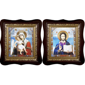 Венчальная пара Икона Спасителя и Достойно Есть Божия Матерь 1515-ФБВП-13