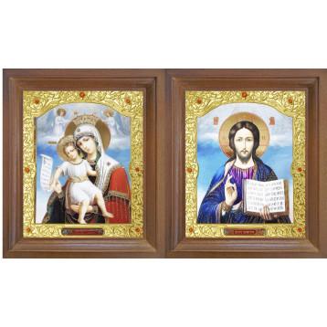 Венчальная пара Икона Спасителя и Достойно Есть Божия Матерь 26-ВП-13