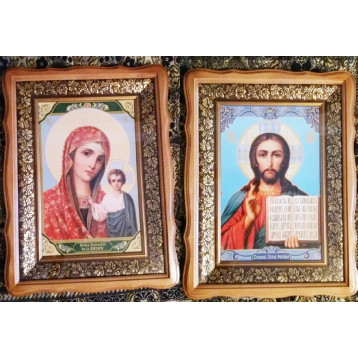 Венчальная пара Икона Спасителя и Казанской Божьей Матери 2030-ФБВП-1