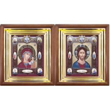 Венчальная пара Икона Спасителя и Казанской Божьей Матери 27-ВП-16