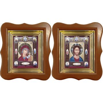 Венчальная пара Икона Спасителя и Казанской Божьей Матери 27-ФВП-16