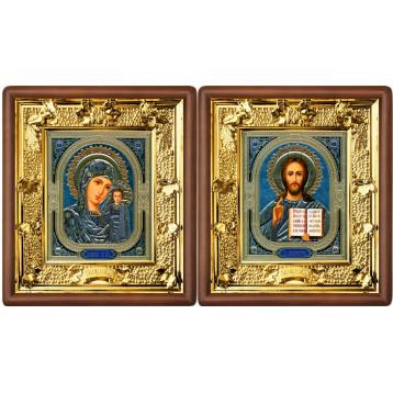 Венчальная пара Икона Спасителя и Казанской Божьей Матери 31-ВП-4
