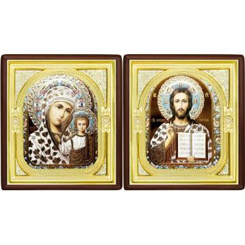 Венчальная пара Икона Спасителя и Казанской Божьей Матери 1-ВП-17