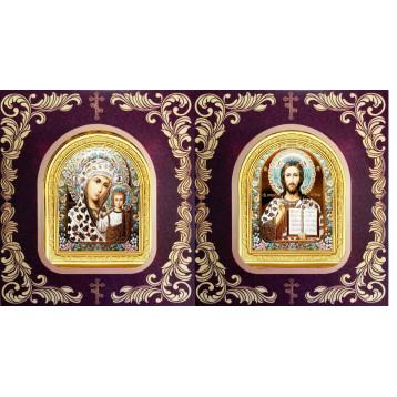 Венчальная пара Икона Спасителя и Казанской Божьей Матери 12-АВП-17