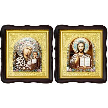 Венчальная пара Икона Спасителя и Казанской Божьей Матери 17-ФТВП-17
