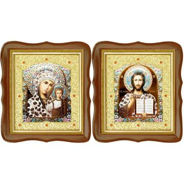 Венчальная пара Икона Спасителя и Казанской Божьей Матери 17-ФСВП-17