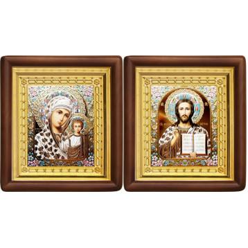 Венчальная пара Икона Спасителя и Казанской Божьей Матери 4-ВП-15