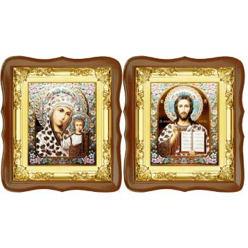 Венчальная пара Икона Спасителя и Казанской Божьей Матери 5-ФСВП-17
