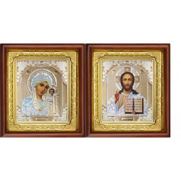 Венчальная пара Икона Спасителя и Казанской Божьей Матери 16-ВП-1