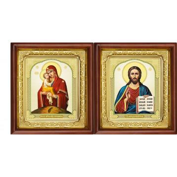 Венчальная пара Икона Спасителя и Почаевская Божия Матерь 16-ВП-10