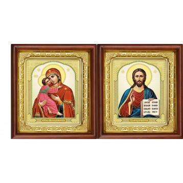 Венчальная пара Икона Спасителя и Владимирская Божия Матерь 16-ВП-12