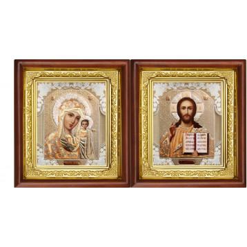 Венчальная пара Икона Спасителя и Казанской Божьей Матери 16-ВП-2