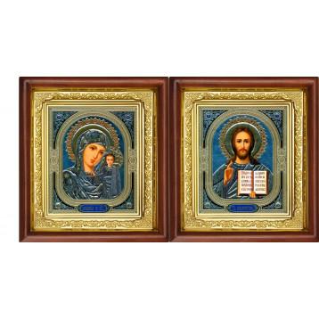 Венчальная пара Икона Спасителя и Казанской Божьей Матери 16-ВП-4
