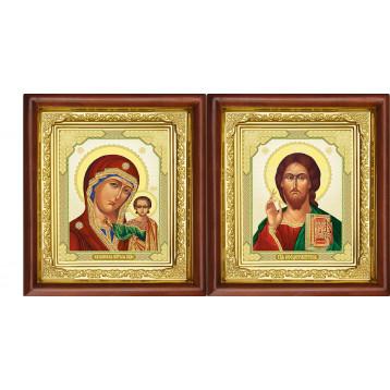 Венчальная пара Икона Спасителя и Казанской Божьей Матери 16-ВП-7