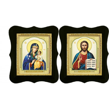 Венчальная пара Икона Спасителя и Неувядаемый цвет Божия Матерь 16-ФВП-11