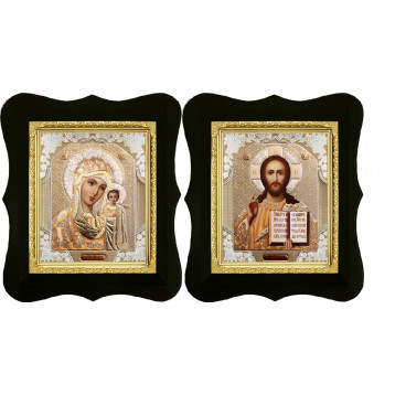 Венчальная пара Икона Спасителя и Казанской Божьей Матери 16-ФВП-2
