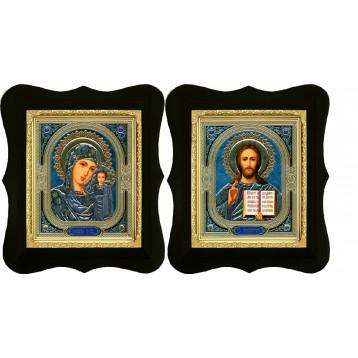 Венчальная пара Икона Спасителя и Казанской Божьей Матери 16-ФВП-4