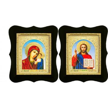 Венчальная пара Икона Спасителя и Казанской Божьей Матери 16-ФВП-6