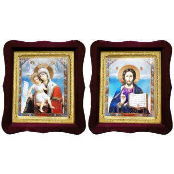 Венчальная пара Икона Спасителя и Достойно Есть Божия Матерь 18-ФВП-13