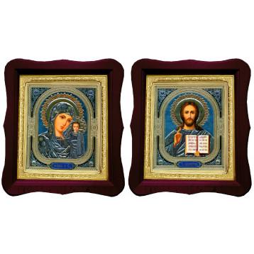 Венчальная пара Икона Спасителя и Казанской Божьей Матери 18-ФВП-4