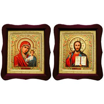 Венчальная пара Икона Спасителя и Казанской Божьей Матери 18-ФВП-5
