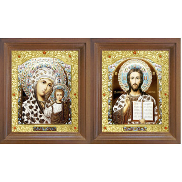 Венчальная пара Икона Спасителя и Казанской Божьей Матери 26-ВП-17