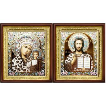 Венчальная пара Икона Спасителя и Казанской Божьей Матери 23-ВП-4