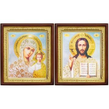 Венчальная пара Икона Спасителя и Казанской Божьей Матери 18-ВП-19
