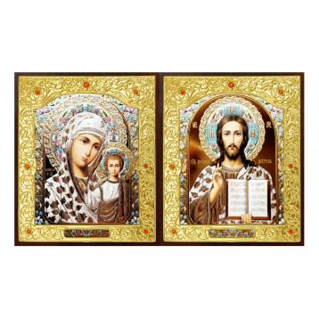 Венчальная пара Икона Спасителя и Казанской Божьей Матери 22-ДВП-15