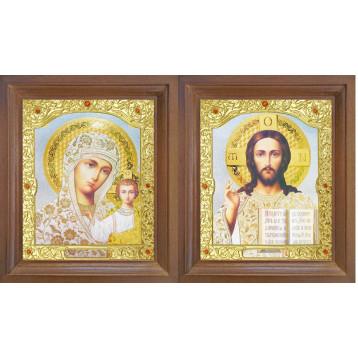 Венчальная пара Икона Спасителя и Казанской Божьей Матери 26-ВП-19