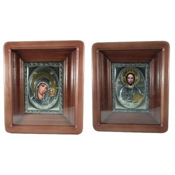 Венчальная пара Икона Спасителя и Казанской Божьей Матери 2427-РВП-1