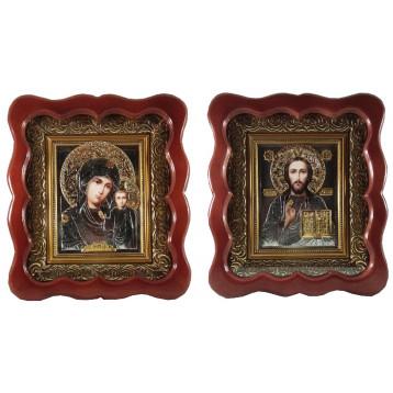 Венчальная пара Икона Спасителя и Казанской Божьей Матери 2732-РВП-3