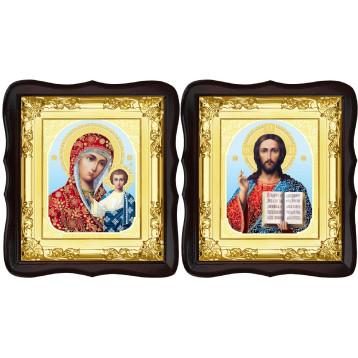 Венчальная пара Икона Спасителя и Казанской Божьей Матери 5-ФТВП-8