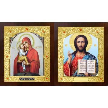 Венчальная пара Икона Спасителя и Почаевская Божия Матерь 21-ДВП-10