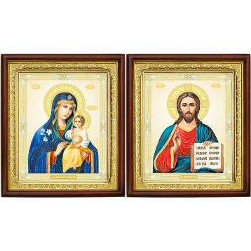 Венчальная пара Икона Спасителя и Неувядаемый цвет Божия Матерь 18-ВП-11