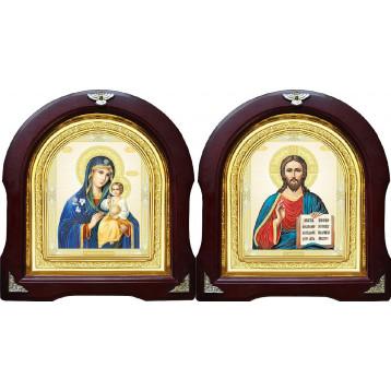 Вінчальна пара Ікона Спасителя і Нев'янучий цвіт Божа Матір 12-АВП-11