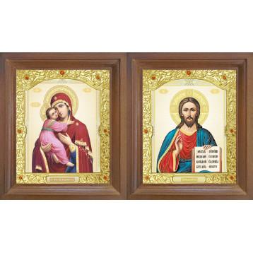 Венчальная пара Икона Спасителя и Владимирская Божия Матерь 26-ВП-12