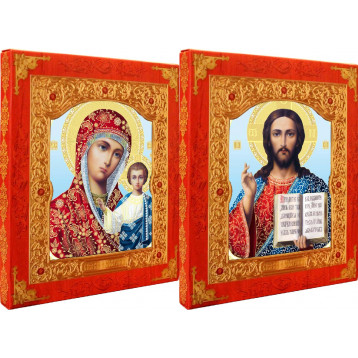 Венчальная пара Икона Спасителя и Казанской Божьей Матери 21-ДВП-8