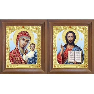 Венчальная пара Икона Спасителя и Казанской Божьей Матери 26-ВП-8