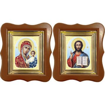Венчальная пара Икона Спасителя и Казанской Божьей Матери 27-ФВП-8