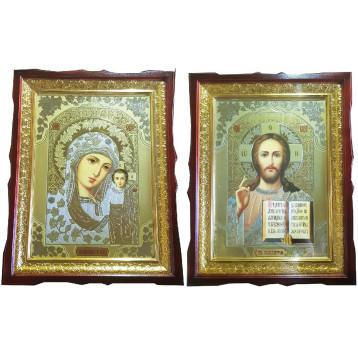Венчальная пара Икона Спасителя и Казанской Божьей Матери 4558-ВП-1