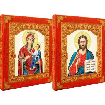 Венчальная пара Икона Спасителя и Иверская Божия Матерь 21-ДВП-9