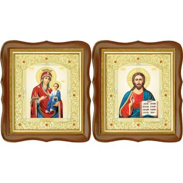 Венчальная пара Икона Спасителя и Иверская Божия Матерь 20-ФСВП-9